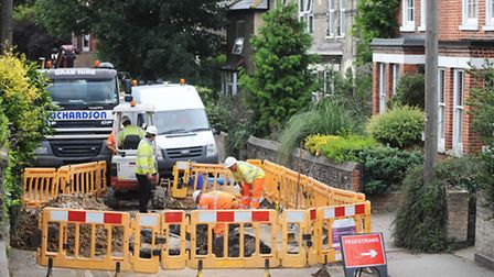 Major traffic disruption in Sudbury, as Anglian Water work on a burst pipe on Gainsborough Road.