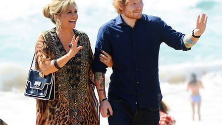 Ed Sheeran, with Emily Symons, on the set for Home And Away where he is making a cameo appearance