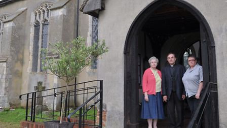 Thieves have stolen the lead roofing from St Mary's Church in Combs. L-R Ann Cole,Reverend Chris Chi