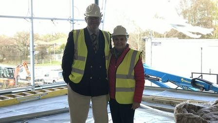South Norfolk Councillors Yvonne Bendle (right) and Keith Kiddie (left) at the Long Stratton leisure