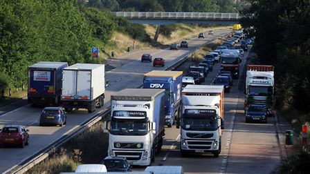 An accident on the northbound A12 at Marks Tey has caused queueing traffic in the area