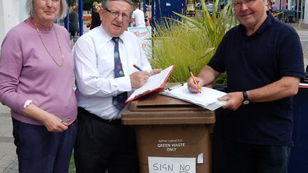 Campaigners collecting signatures in Felixstowe town centre against proposals for a charge on brown