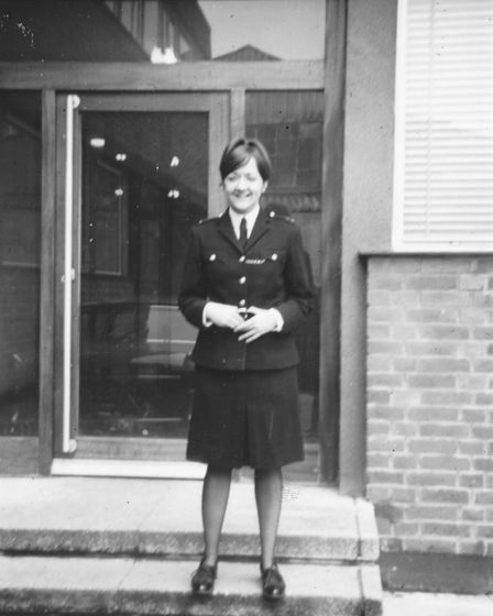 WPC 80'K' Willoughby outside Romford police station in 1968. Picture: Mango Books