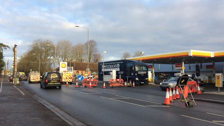 Road works are back on Victoria Road in Diss by the Vinces Road junction. PHOTO: Sophie Smith