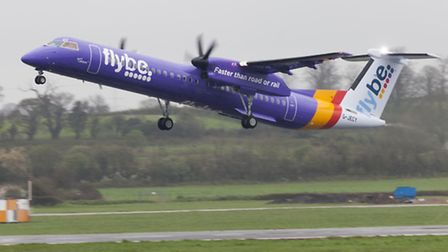 A plane in Flybe's latest purple livery.