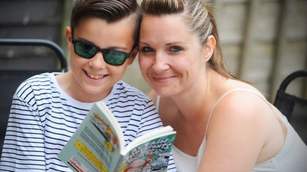 Caroline Elsden and her son Aidan, 10, for a feature about colorimetry, a condition which affects th