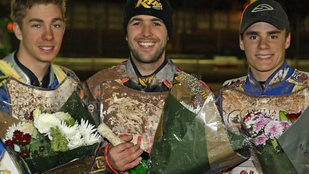 Scott Nicholls, centre, won this event in 2008. Pictured with Troy Batchelor, left and Olly Allen. P