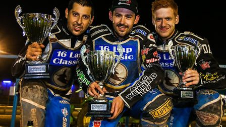 Winner Danny King is flanked by second placed Nico Covatti (left) and third placed Stefan Nielsen on