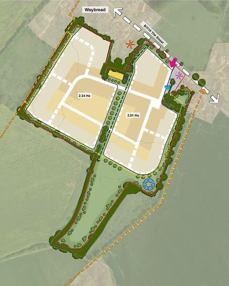 The site plan for the Crown Farm development in Weybread. Picture: Crown Chicken Ltd