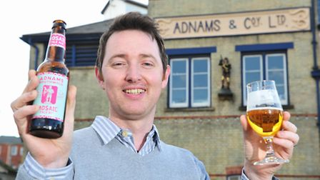 Adnams head brewer Fergus Fitzgerald with a bottle of Jack Brand Mosaic Pale Ale.