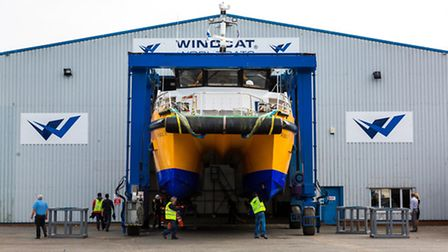 The new Windcat 38 vessel at Windcat Workboats' engineering facility at the Port of Lowestoft. Phot