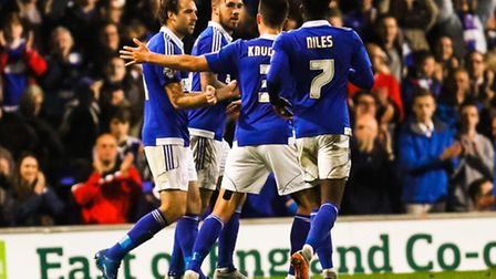 Brett Pitman is congratulated by team mates after his penalty during the Ipswich Town v Birmingham