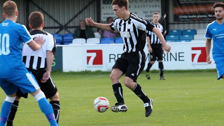 Action from Woodbridge Town's win over Leiston Reserves