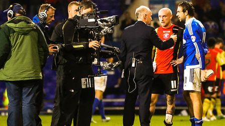A TV interview for Brett Pitman after the final whistle. Picture: Steve Wallerwww.stephenwal