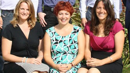 From left, Julie Clements, Natalie Perillo of My Ruby and Nichola Cain of Voice Communications, thre