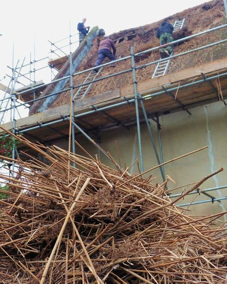 Work replacing part of the thatched Chancel roof of All Saints Church in Old Buckenham. Lottery fund