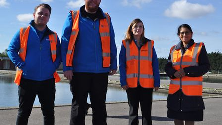 Priti Patel MP with Essex & Suffolk Water apprentices, from left, Mike Newell, Stephen Denny, Lauren