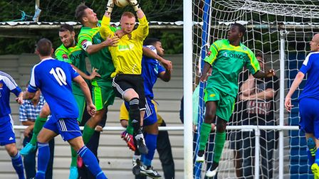 Wanderers keeper Jack Spurling plucks the ball from the air during the Ipswich Wanderers V Canvey Is