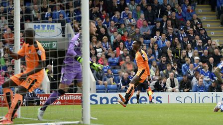 Gavin Massey celebrates his equaliser at Chesterfield