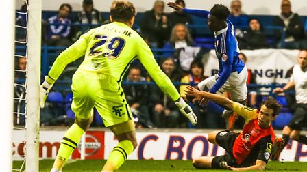 Ainsley Maitland-Niles is fouled during the Ipswich Town v Birmingham (Championship) match at Portma