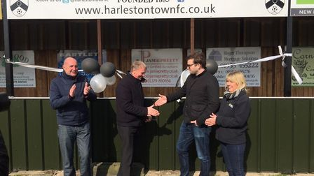 Adam Mullin (left) at the opening of Harleston Town FC's new stand in 2015. Picture: Harleston Town