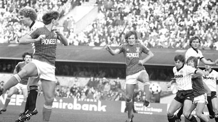 Memories of Ipswich Town defenders Terry Butcher, left, and Russell Osman, right, on the attack agai
