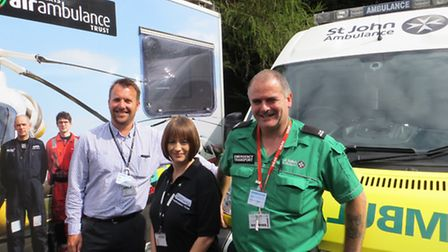 Chris Bignall (SJA), Clair Mitchell (EHAAT) and Pete Manning (SJA) with the donated trailer