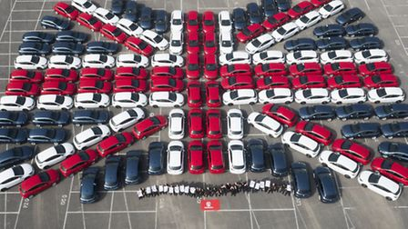 The Union Flag created out of 128 Vauxhall Astras at the Ellesmere Port plant in Cheshire, where it