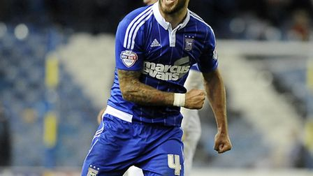 Luke Chambers with his customary celebration after the win at Leeds