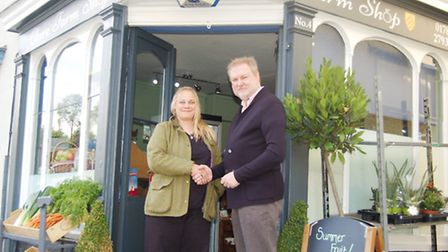 Pictured are Cllr Alaric Pugh and Shara Browning at Clare Farm Shop