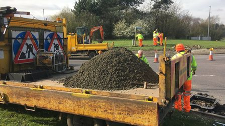 Work to improve the Scole roundabout including replacing damaged warning chevons is underway on the