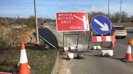 The A140 between the A143 and the Scole roundabout has been reduced to one lane while a slip road in