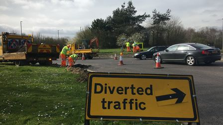 Work to improve the Scole roundabout has seen it and the approaches on the A140 reduced to one lane.