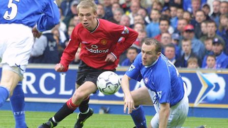 Ipswich Town's John McGreal (right) and Manchester United's Luke Chadwick at Portman Road in 2002