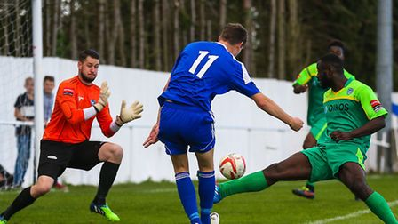 A Matt McKenzie effort is saved by Conor Gouch late in the Ipswich Wanderers V Canvey Island (FA Cup