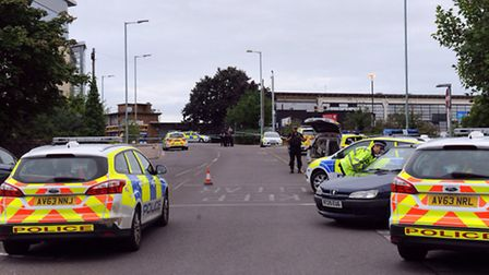The police scene after a man was shot in the stomach at Forum Court, Bury St Edmunds