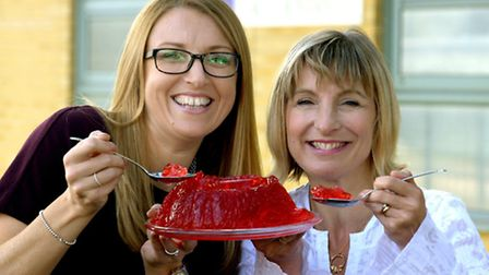 Becky Ames of Larking Gowen and Leanne Castle of Menta getting in the mood for the first Menta Jelly