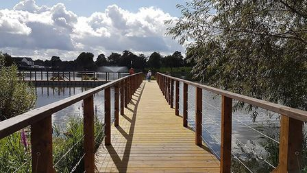 Diss Mere boardwalk opened as part of the Heritage Triangle project and aims to attract people to vi