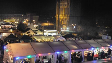 The opening night of the Christmas Fayre in Bury in 2014.