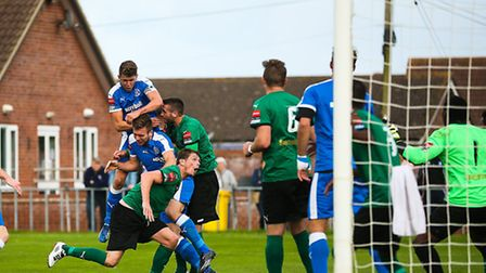 A last minute goal-mouth scramble as Leiston look for an equaliser during the Leiston V Grays Athlet