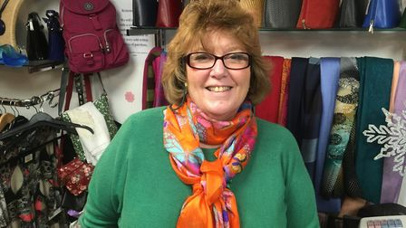 Sue Kiddie, owner of women's clothing and accessories shop Tatters of Diss. Picture: Simon Parkin