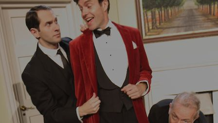 Jeeves (Joseph Chance), Wooster (Matthew Carter) and Seppings (Robert Goodale) in the touring produc