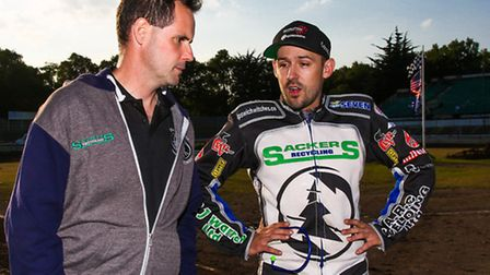 Witches Director of Speedway Chris Louis with skipper Danny King. Picture: Steve Waller