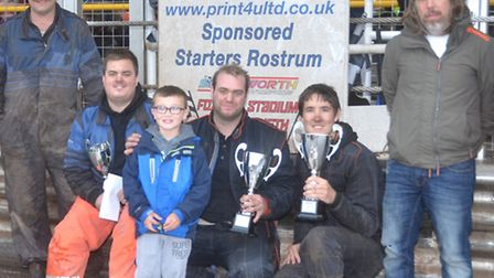 Damien Wright (Ipswich - centre) took the Oaks Caravans Banger final from Craig Hook (right) and Jam