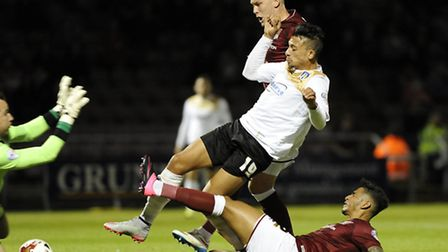 Lone striker Macauley Bonne, in action against Northampton in the U's last outing