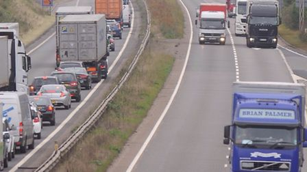 Drivers on A14 could be delayed by broken down lorry. Photo: ARCHIVE