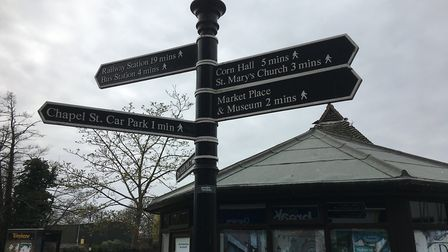 The signpost on Mere Street in Diss that has been reinstated after being damaged by a group of five