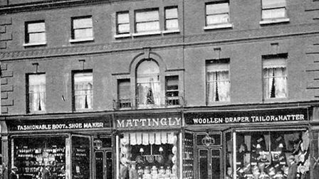 Oxfam shop that was totally devastated in the fire. Former Mattingly's, Sudbury c1906. The facade o