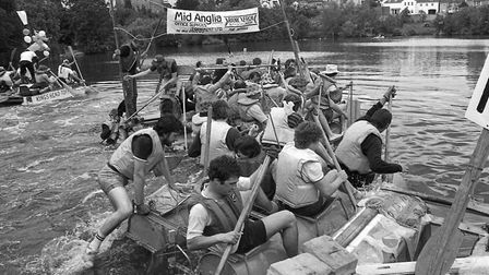 Diss raft race on the Mere, July 1984. Picture: Archant Library