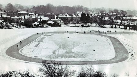 This unique picture of Diss Mere was taken from the top of Diss Service Club. It shows the skating c